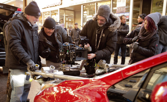 A crew shoots the 2016 Prius Super Bowl ad in Chicago.