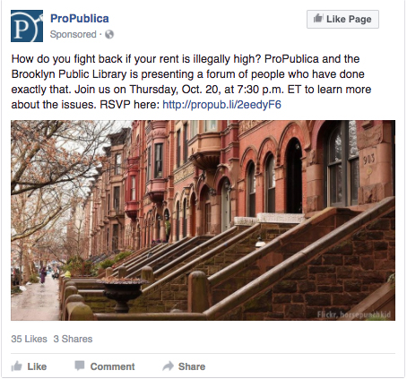 ProPublica bought an ad on Facebook and excluded certain groups from seeing it.