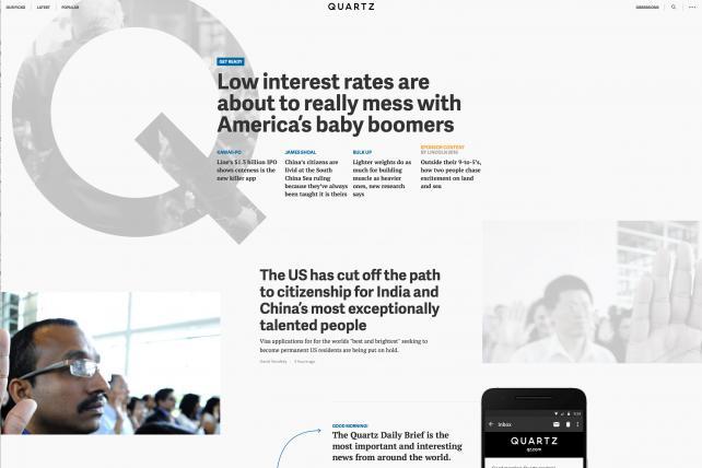 Quartz's homepage recently.