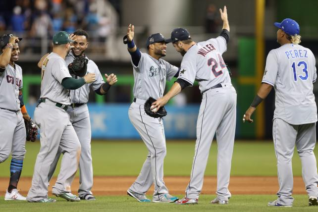Robinson Cano and Andrew Miller celebrate after winning this year's All-Star Game. Fox might not be as thrilled with its results.