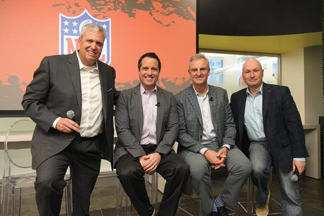 ESPN talent Rex Ryan, Dan Graziano and Trey Wingo with network exec Sean Hanrahan during the event at Magna.