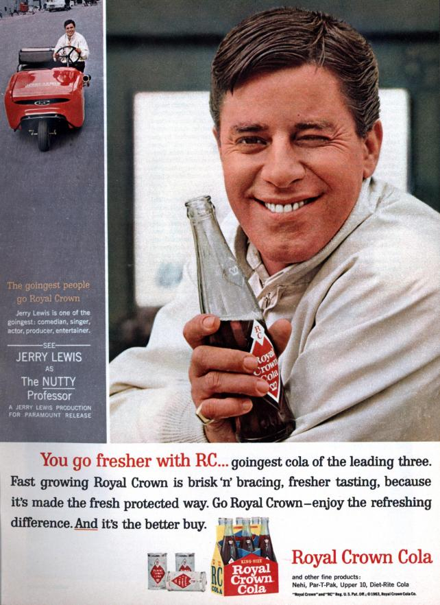 Royal Crown Soda print ad with Jerry Lewis