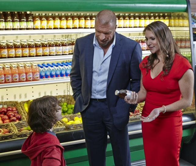 The WWE's Triple H and Stephanie McMahon in a Snapple commercial.