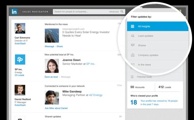 Sales Navigator insights feed