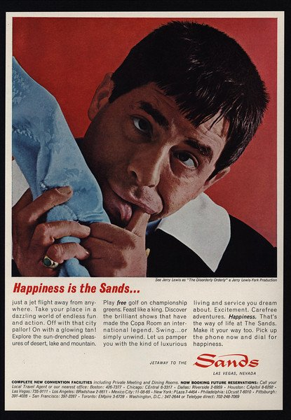 Sands Hotel print ad with Jerry Lewis