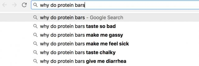 A Google search for 'why do protein bars...'