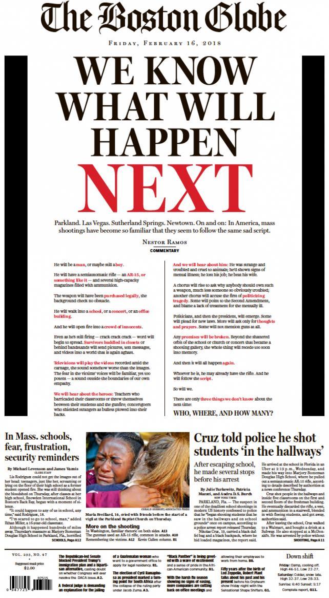 Boston Globe: Front Page 2/16/2018