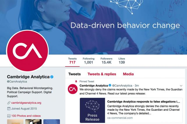 Cambridge Analytica attempts a self-defense via Twitter tweetstorm, but it backfires