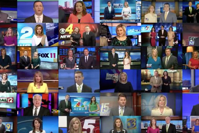 Deadspin assembled a montage of Sinclair anchors around the U.S. reading a promo that echoed President Trump's critique of the news media.