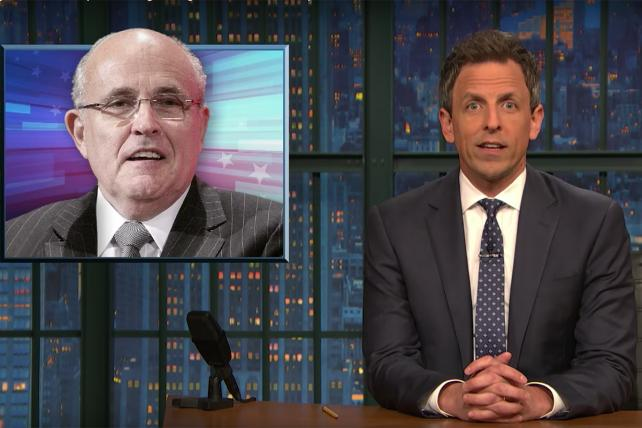 Watch Seth Meyers and Jimmy Kimmel try to make sense of Rudy Giuliani's hapless media tour