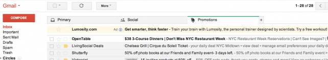 Screenshot of Gmail's new inbox ads