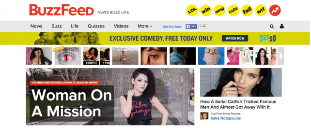 An external banner ad for Seeso on Buzzfeed.com