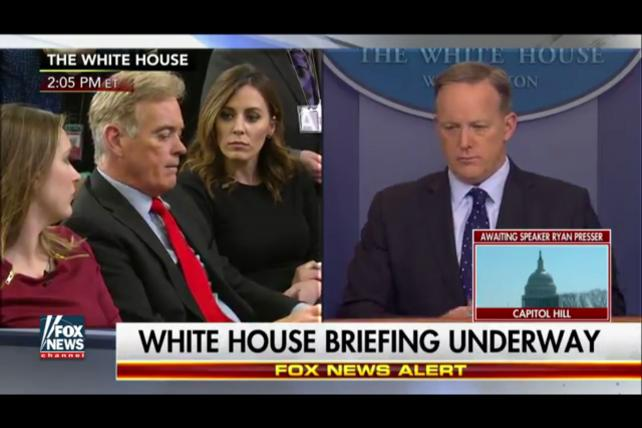 Sean Spicer at a White House press briefing on March 23.