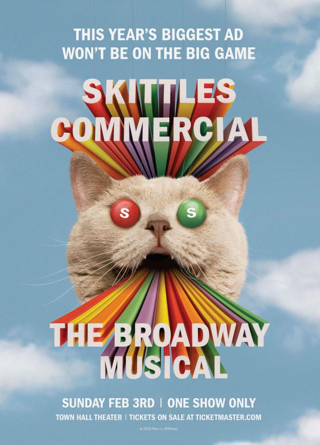 Skittles is planning a Broadway-style show for Super Bowl Sunday