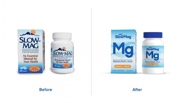 Slow-Mag packaging before and after