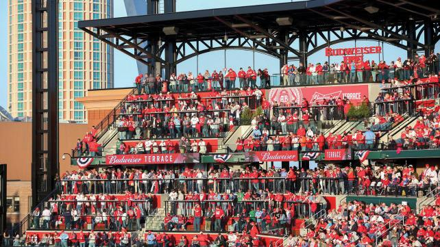Cardinals fans mingle without assigned seats on Budweiser Terrace