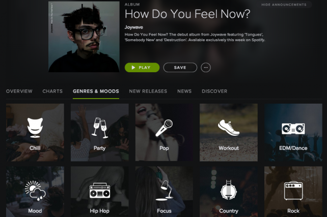 Spotify has categorized its 1.5 billion playlists based on mood and activity.