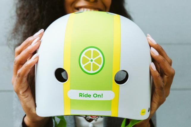A Lime helmet