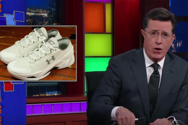 Air Josh Grobans? Stephen Colbert mocks Steph Curry's new sneakers.