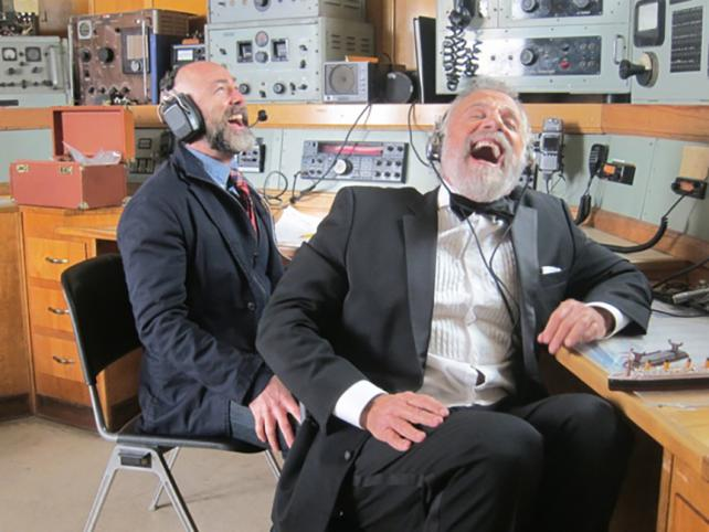 Director Steve Miller, left, shares a big laugh with Jonathan Goldsmith, Dos Equis' Most Interesting Man.