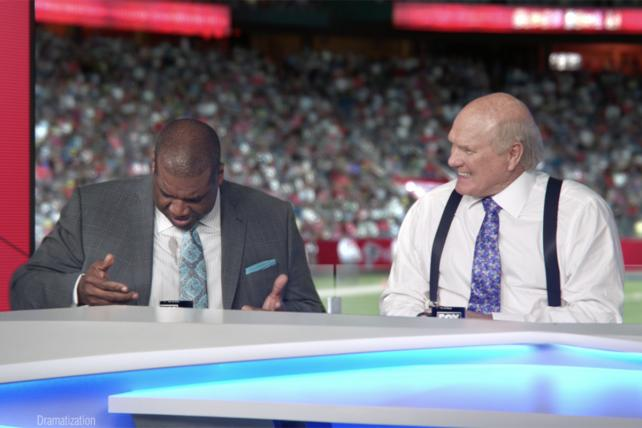 Fox Sports' Curt Menefee and Terry Bradshaw helped Tide create a 'live' Super Bowl spot.