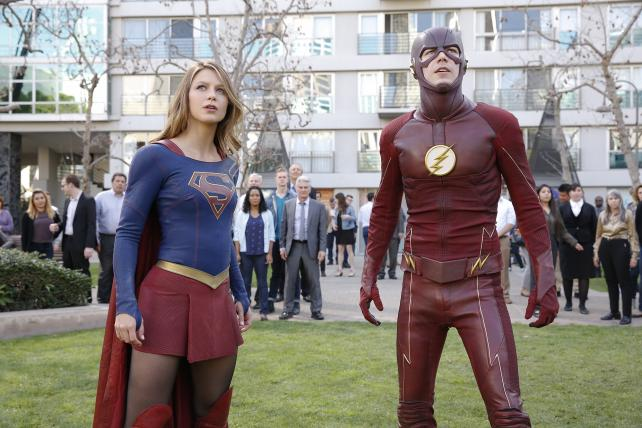 Melissa Benoist as Supergirl and Grant Gustin as The Flash. 'Supergirl' is moving to the CW, which already carries 'The Flash,' from CBS this fall.