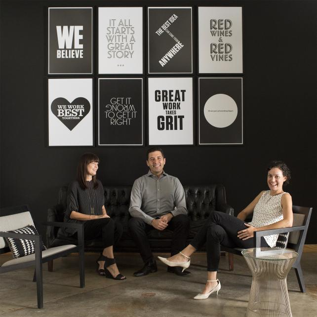 From left: Alicia McVey, CCO; Paul Willie, CTO; Liz Valentine, CEO.
