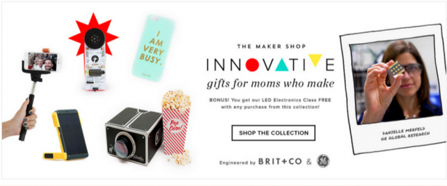 GE's Mother's Day tech store, developed with Brit + Co.