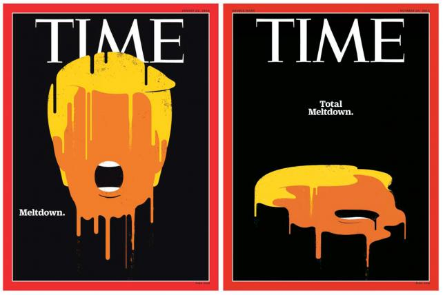 Time's Aug. 22 and Oct. 24 covers, both illustrated by Edel Rodriguez.