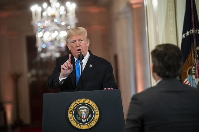 President Trump addresses CNN reporter Jim Acosta at the White House.