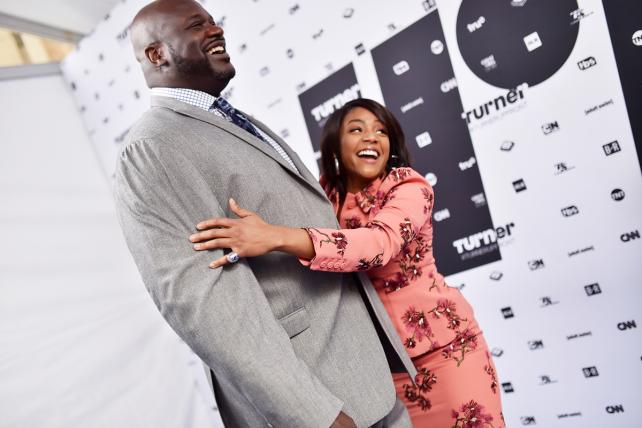 Shaquille O'Neal and Tiffany Haddish arrive at the Turner upfronts pitch at The Theater at Madison Square Garden on Wednesday.