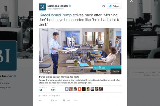 Twitter video ads appearing ahead of video on Business Insider's feed.