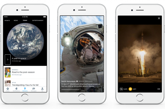 Twitter's 'Moments' section curates tweets, including photos and videos, around live events.