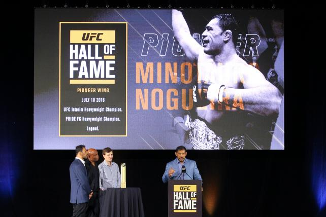 Antonio Rodrigo Nogueira speaks at his UFC Hall of Fame induction ceremony in Las Vegas July 10.