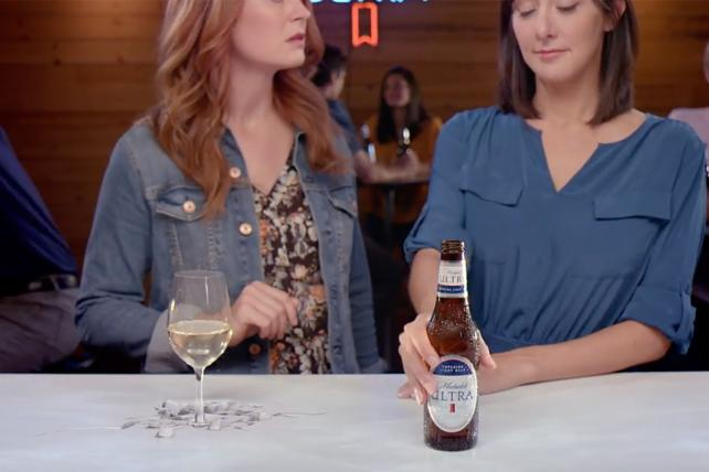 A sign of the times: This new Michelob Ultra ad takes on white wine.
