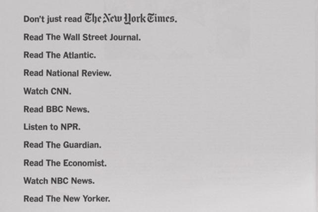 The New York Times wants you to consult other trusted news sources too (but not, ahem, Fox News)