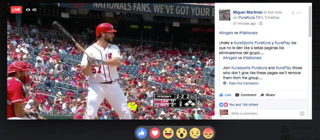 Live baseball and football are popping up on Facebook.