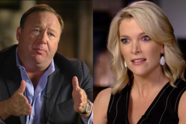 Alex Jones and Megyn Kelly.