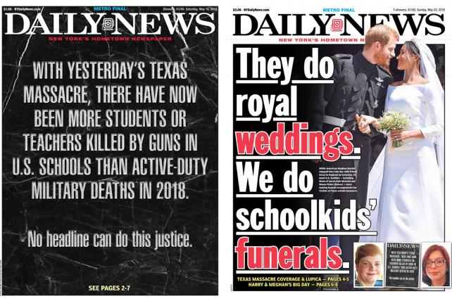 The Daily News was not entirely distracted by the royal wedding over the weekend