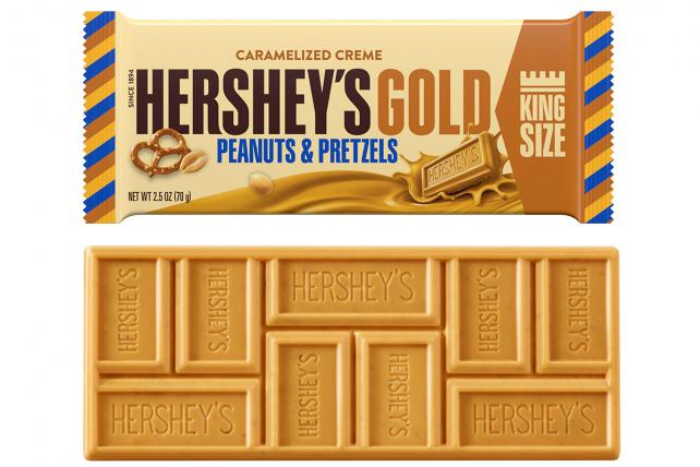 Hershey is introducing Hershey Gold, a caramelized crème bar with peanuts and pretzels.