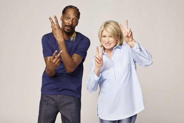 Martha Stewart and Snoop Dogg of Martha and Snoop's potluck dinner party on VH1