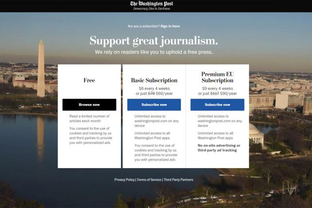 The Washington Post offers three different packages for EU citizens.