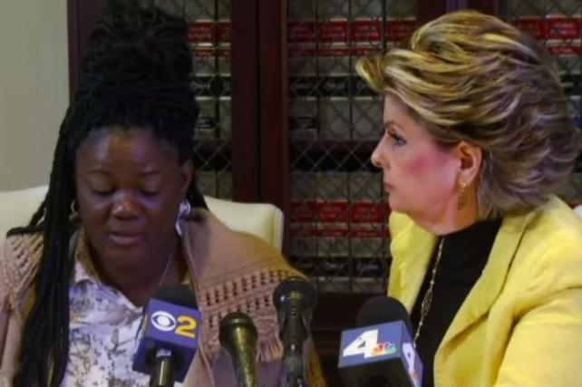 Plaintiff Essie Gundy and lawyer Gloria Allred in press conference about Walmart lawsuit.