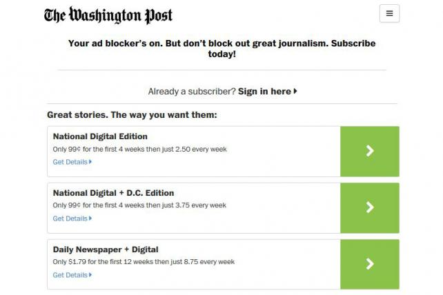 One message that greeted WashingtonPost.com visitors with ad blocking software engaged.
