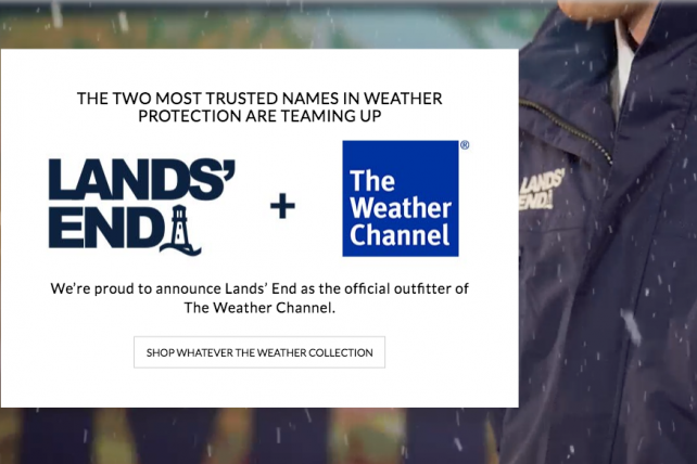 Lands' End is the official outfitter of the Weather Channel.