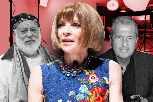 Condé Nast has effectively banned Bruce Weber (left) and Mario Testino (right) following a New York Times investigation of alleged sexual misconduct. Also shown: Condé Nast Artistic Director Anna Wintour.