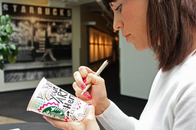 Starbucks recently promoted its reusable cups by asking fans to doodle on them.