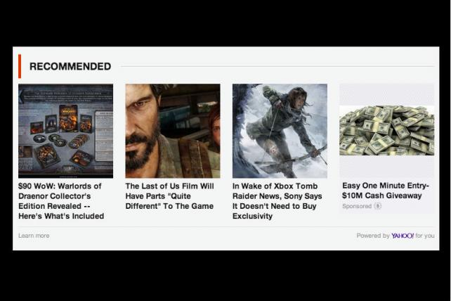 Yahoo's content recommendation box places its native ads on others' sites.