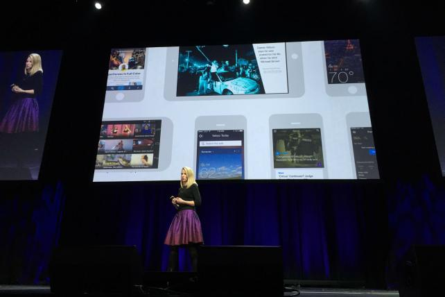 Yahoo CEO Marissa Mayer at the company's mobile developer conference in San Francisco.