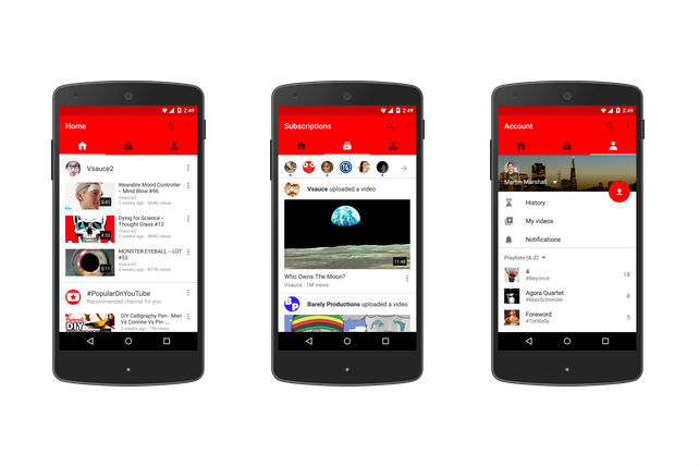 YouTube's new three-paned look on mobile